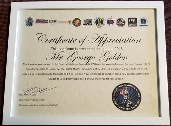 Cert of appreciation
